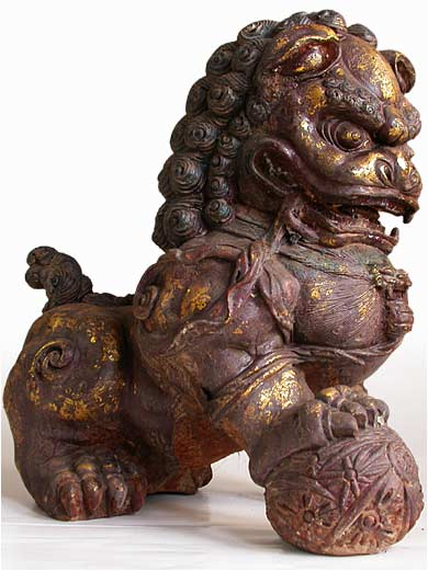 Old Chinese Gilt Iron Guardian Lion Foo Dog Pair