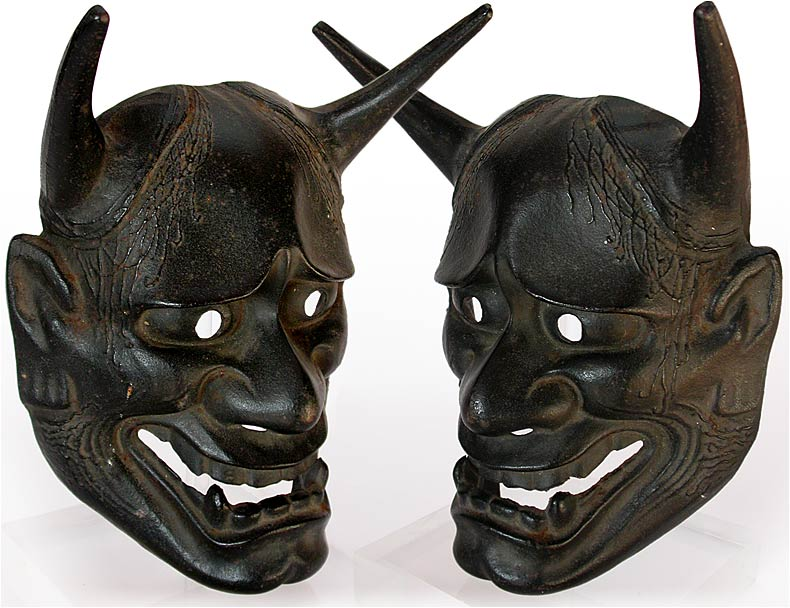 antique japanese cast iron hannya demon mask