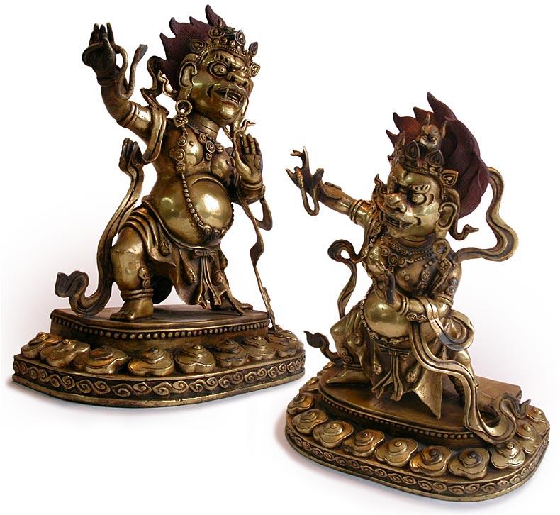 Antique Sino Tibetan Gilt Bronze Lion Faced Goddess
