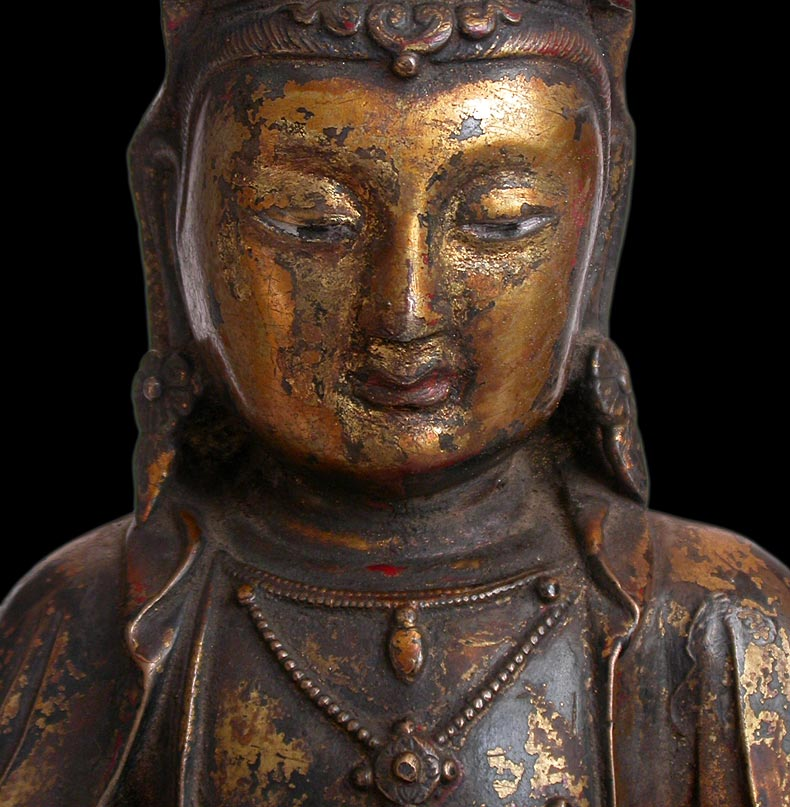 Ming Bronze Quan Yin  close-up