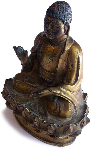 19th Century Vietnamese Antique Gold Gilded Bronze Buddha