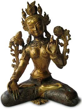 Gilt Bronze White Tara