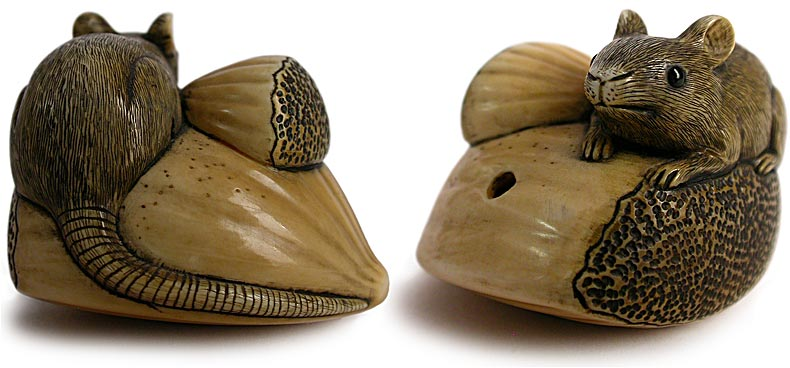 Antique mouse on chestnut japanese netsuke signed yukimasa