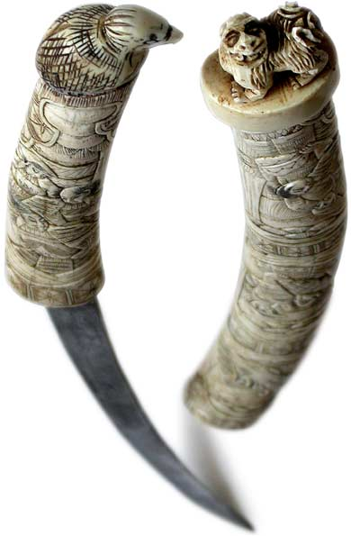 ANTIQUE SWORD, IVORY CARVED HANDLE  SCABBARD, JAPANESE