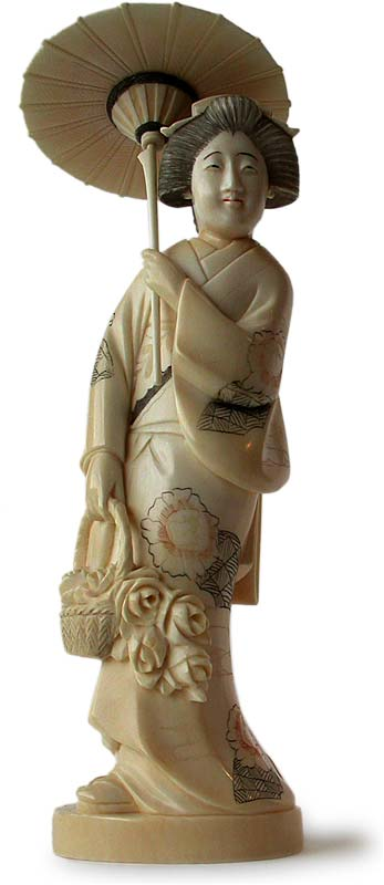 Antique Japanese Carved Geisha Holding Umbrella Okimono
