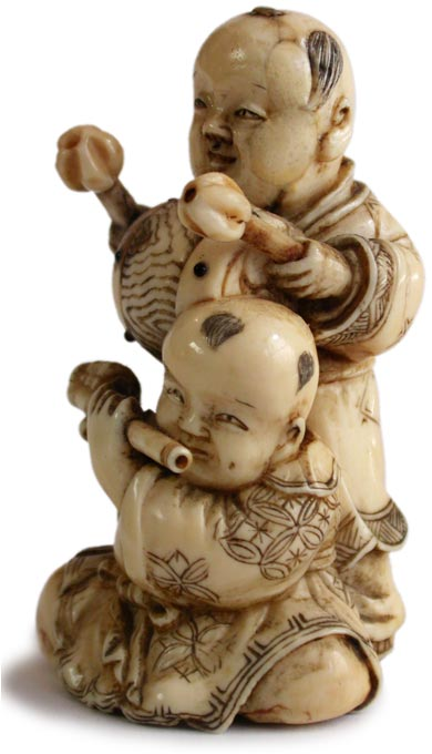 Two Boys Netsuke