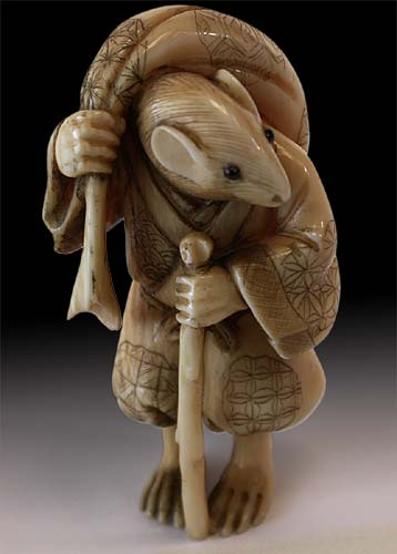 19th Century Japanese Carved Mouse Traveler Netsuke Signed