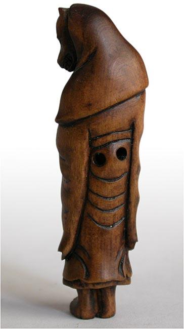 Vintage fox priest boxwood toggle netsuke carving signed