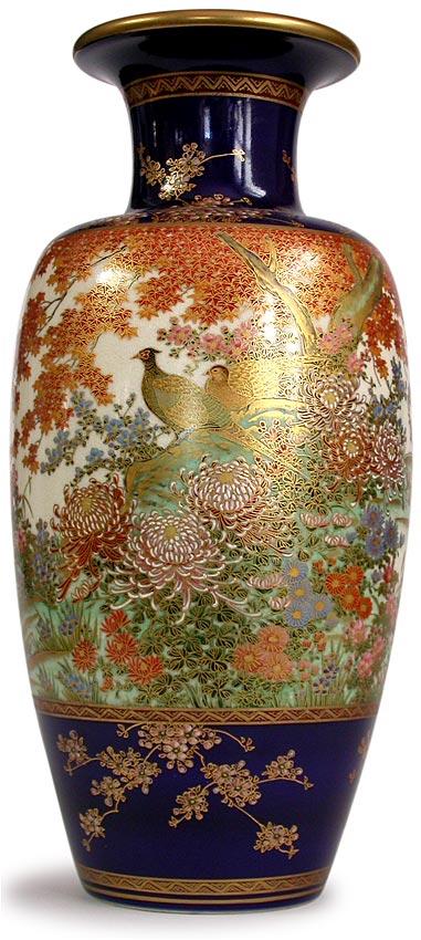 Antique Japanese Pheasant Pair Love And Prosperity Symbol Satsuma Vase Signed