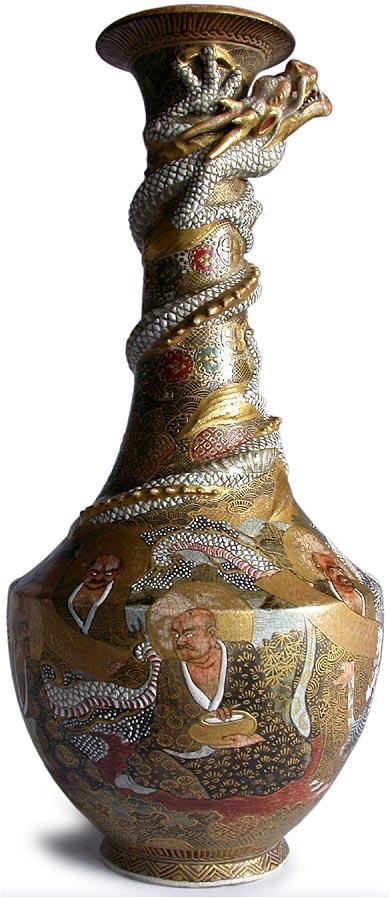 Antique Japanese Satsuma Dragon Rakan Gilded Vase