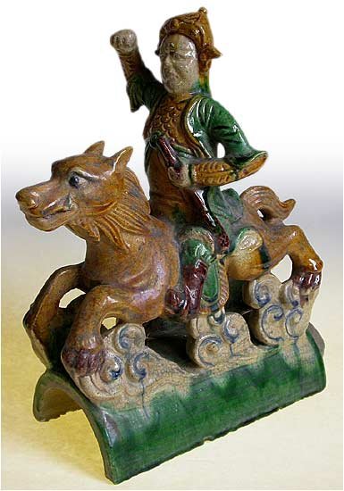 Antique Chinese Qing Dynasty Wolf Rider Roof Tile