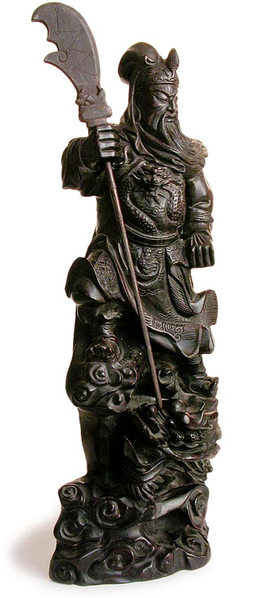 Antique Chinese Carved Teak Wood God Of War Guan Yu Statue