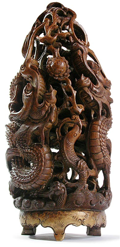 19th Century Chinese Carved Bamboo Root Water Dragons