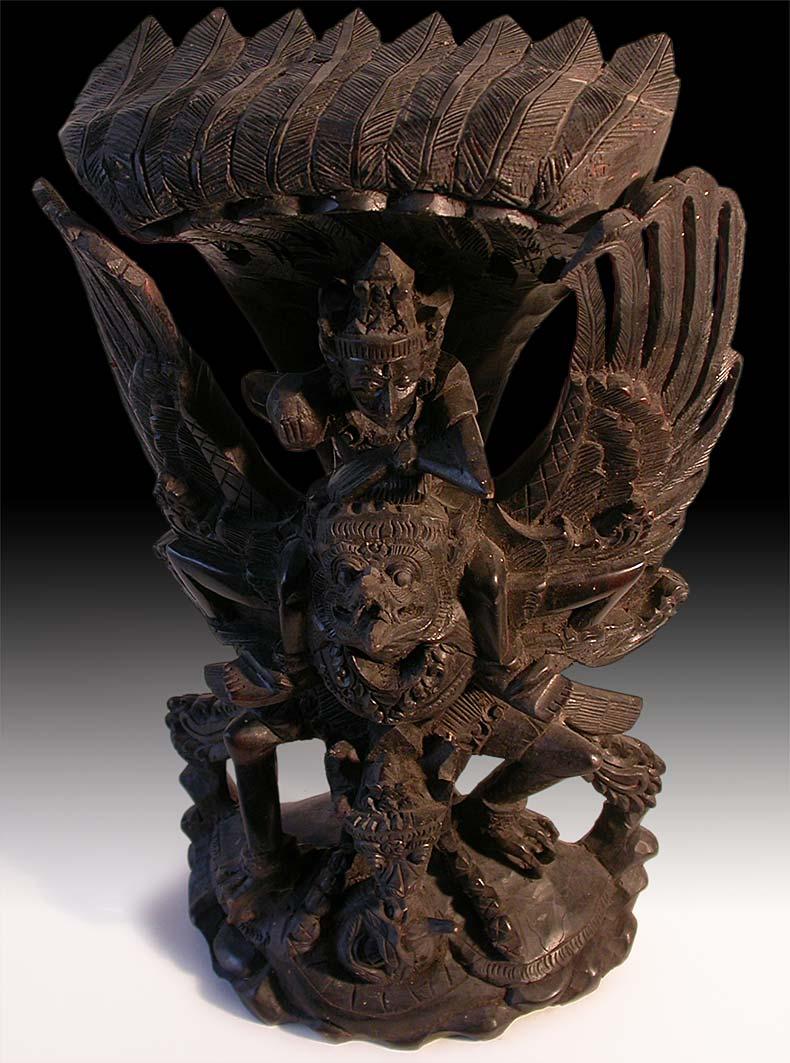 Call Paypal Credit >> Vintage Southeast Asian Carved Vishnu Garuda Naga Wood Statue