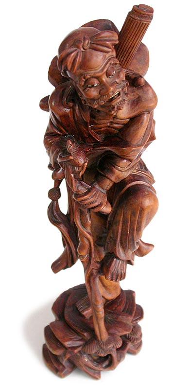 Antique chinese carved boxwood taoist immortal li tieh