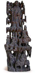 Three Buddhas Wood Carving